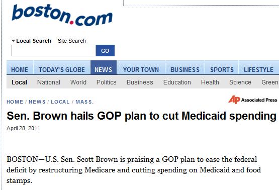 Headline: Sen. Brown Hail GOP Plan to Cut Medicaid Spending
