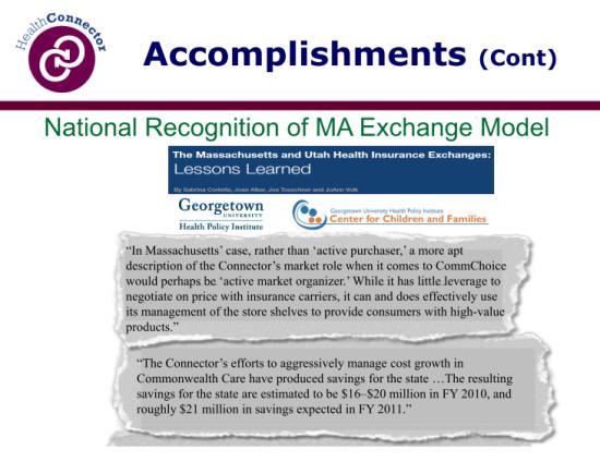 Connector Accomplishments - national exchange model