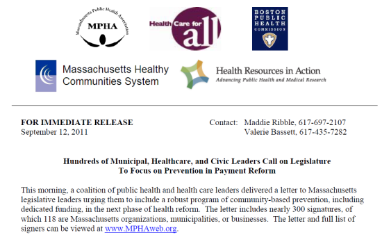 Mass Public Health Association calls for prevention in payment reform