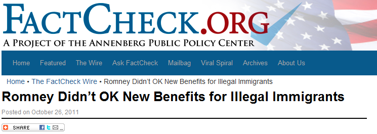 Fact Check Web page on Romney
