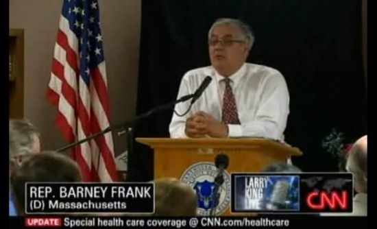 Barney Frank at a health care town hall meeting