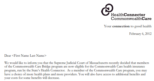 Notice from Connector To Legal Immigrants Now Eligibile for Commonwealth Care