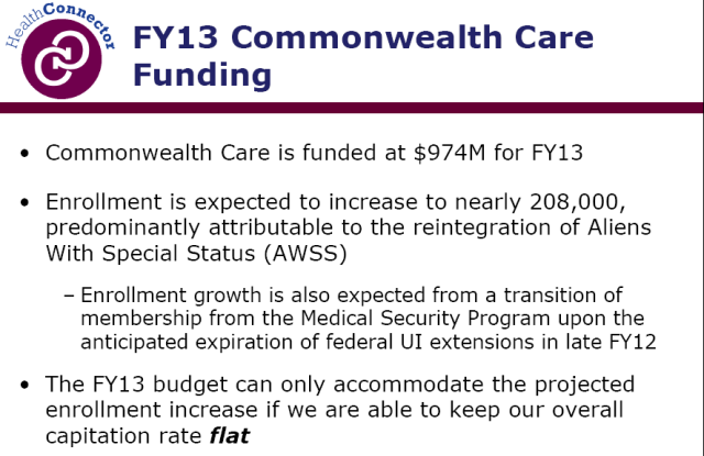 Connector will need to keep capitation flat to achieve FY 13 buget goals