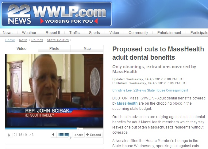 Channel 22 (Springfield) Covers MassHealth Dental Benefits Rally 4-4-12