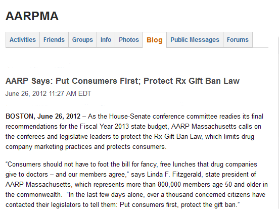 AARP Blog asks members to fight for prescription gift ban