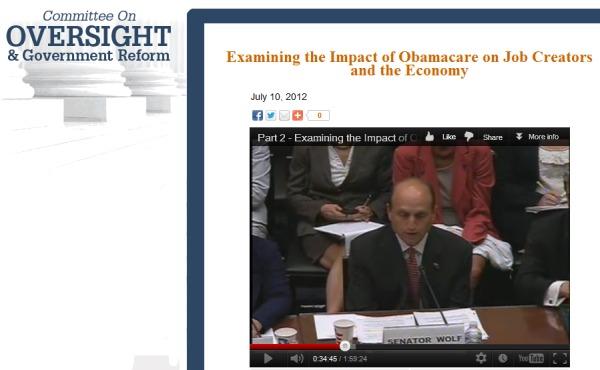 State Senator Dan Wolf Testifies on ACA before House Committee