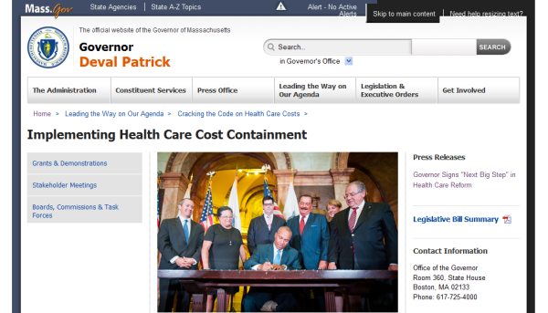 Mass.gov website on cost containament law