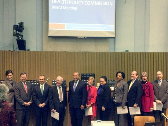 Members of the Health Policy Commission pose with Governor Patrick at their first meeting