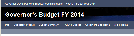 Budget Header from state website