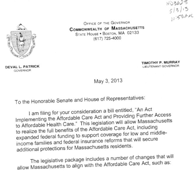 Governor Patricks cover letter filing the ACA implementation bill