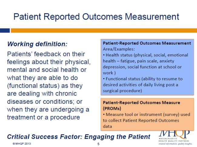 Slides descriving Patient Reported Outcome Measures