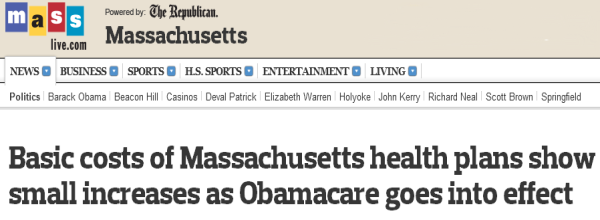 Springfield Republican Headline: Basic costs of Massachusetts health plans show small increases as Obamacare goes into effect""