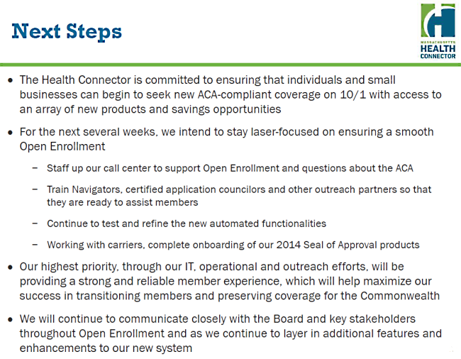 Next steps for Connector on ACA implementation