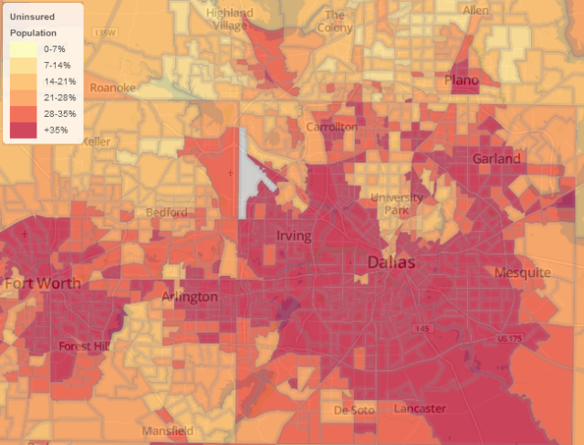 Dallas - Forth Worth uninsured by census