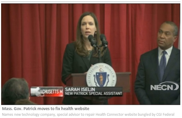Sarah Iselin and Governor Patrick at press conference on Connector IT fixes